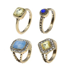 Ericdress Vintage Four-Piece Diamante Ring for Women