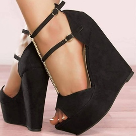 Ericdress Hasp Peep Toe Plain Wedge Sandals