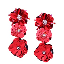 Ericdress Flower-Shaped Long Diamante Earring