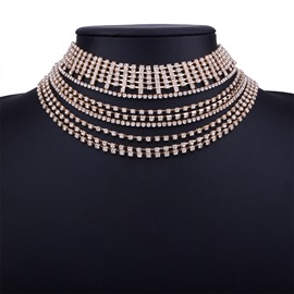 Ericdress Sparkling Fully-Jewelled Choker Necklace