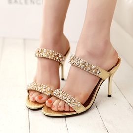 Ericdress Rhinestone Flip Flop Plain Stiletto Mules Shoes