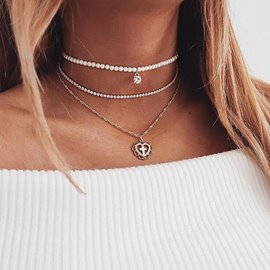 Ericdress Imitation Pearl Cross Pendant Multilayer Necklace