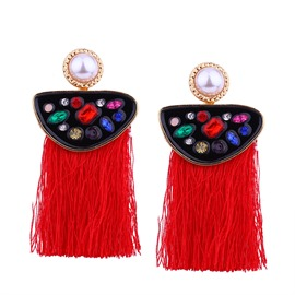 Ericdress Contrast Color Colorful Rhinestone Women's Earring