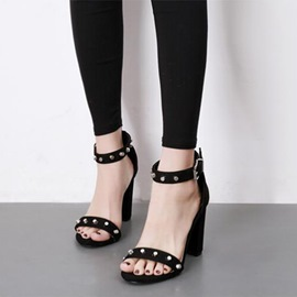 Ericdress Rivet Open Toe Plain Low-Cut Chunky Sandals