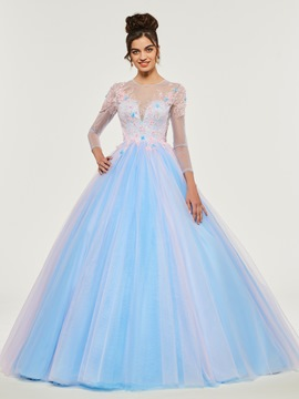 Ericdress Scoop Neck Applique Long Sleeve Ball Quinceanera Dress