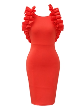 Ericdress Ruffles Patchwork Backless Women's Bodycon Dress