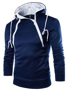 ericdress plain pullover slim fit herren zipper hoodies