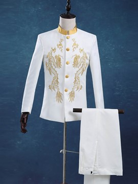 Ericdress Golden Embroidery Stand Collar Men's Blazer