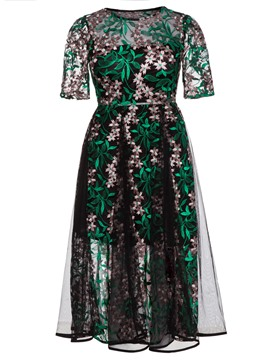 Ericdress Floral Embroidery Mesh Patchwork A Line Dress