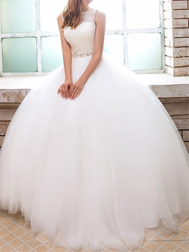 Ericdress Ball Gown Jewel Sequins Lace Wedding Dress