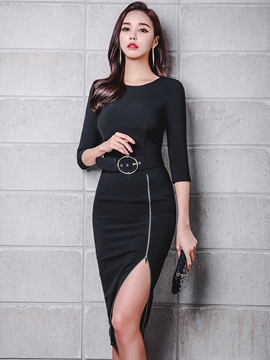Ericdress Black Plain Zipper Split Women's Sheath Dress