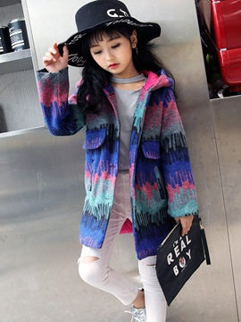 Ericdress Color Block Hooded Girls' Overcoat