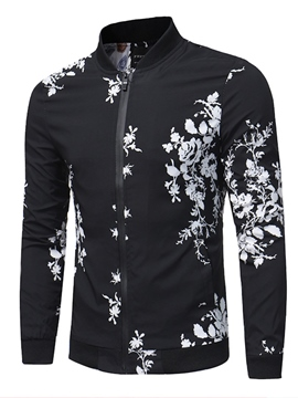 Ericdress Stand Collar Floral Print Men's Slim Jacket