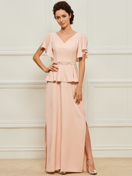 Ericdress A Line Split-Front Long Mother of the Bride Dress