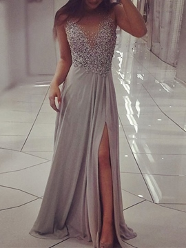 Ericdress A-Line Beading Long Formal Dress With Side Slit