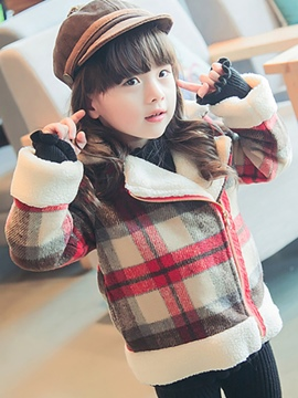 Ericdress Plaid Lapel Fleece Patchwork Zipper Girls' Overcoat