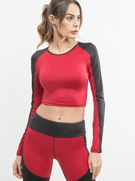 Ericdress Patchwork Color Block Anti-Sweat Pullover Long Sleeve Tops