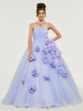 Ericdress Scoop Neck Beaded Flower Applique Quinceanera Dress