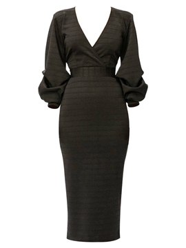 Ericdress V-Neck Lantern Sleeve Sheath Dress