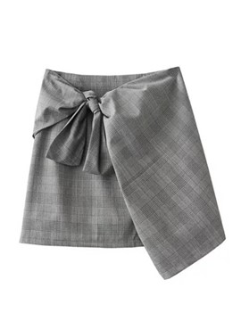 Ericdress Plaid Asymmetrical Women's Skirt