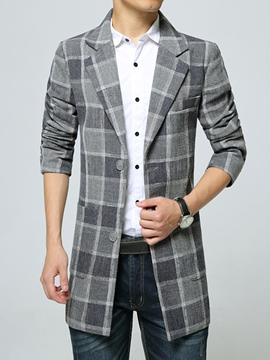 Ericdress Plaid Single-Breasted Men's Trench Coat