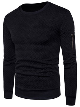 Ericdress Plain Round Neck Casual Men's Pullover Hoodies