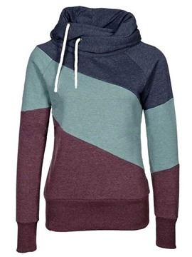 Ericdress Color Block Patchwork Raglan Sleeve Cool Hoodie