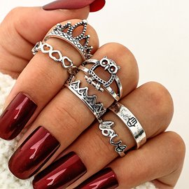 Ericdress Owl&Crown&Love Women's Ring Set