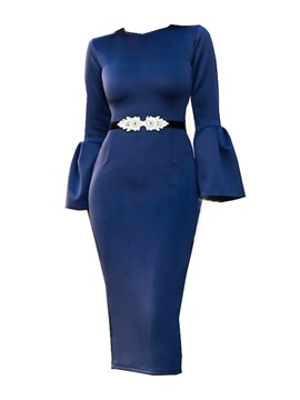 Ericdress Solid Color Flare Sleeve Women's Sheath Dress(Without Belt)