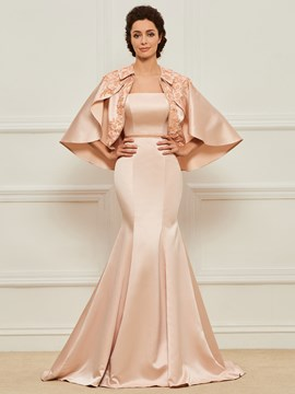 Ericdress Strapless Mermaid Matte Satin Mother of the Bride Dress