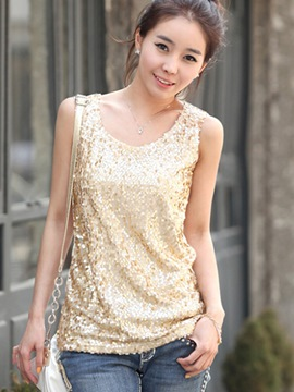 Ericdress Slim Plain Sequins Vest