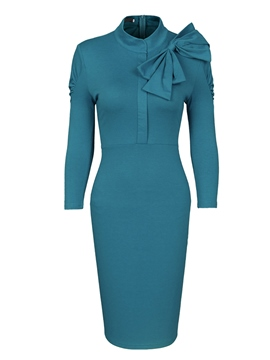 Ericdress Bow Collar Pleated Women's Sheath Dress