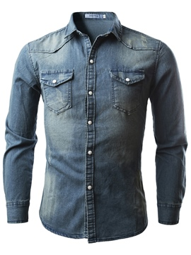 ericdress revers plain langarm herren chambray shirt