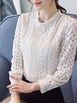 Ericdress Plain Slim Stand Collar Lace Blouse