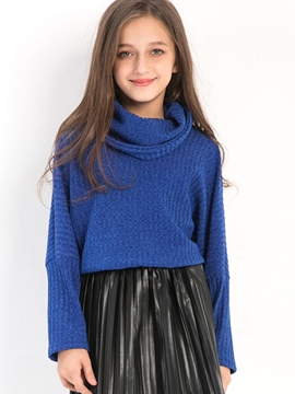 Ericdress High Neck Solid Color Girl's Sweater