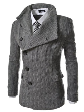 Ericdress Lapel Single-Breasted Stripe Men's Woolen Coats