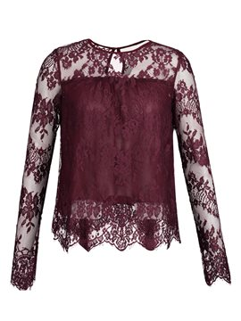 Ericdress Loose Round Neck Lace See-Through Women's Blouse