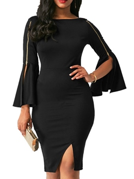 Ericdress Round Neck Zipper Flare Sleeve Bodycon Dress