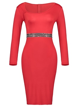 Ericdress Oblique Collar Appliques Patchwork Women's Sheath Dress