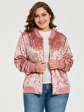 Ericdress Plus-Size Stand Collar Pleuche Star Jacket