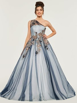 Ericdress One Shoulder Applique Quinceanera Dress With Lace-Up Back