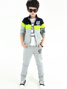 Ericdress Color Block Zipper Jacket & Pants Boys' Outfit
