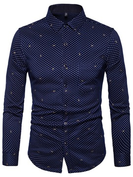 Ericdress Polka Dots Long Sleeves Slim Fit Men's Dress Shirts