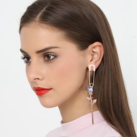 Ericdress Creative Rose Long Pin Earring for Women