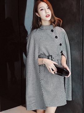 Ericdress Plain Single-Breasted Houndstooth Cape