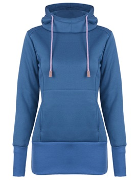 ericdress slim plain fleece kapuze sweatshirt