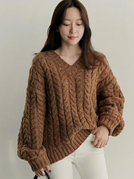 Ericdress Plain Loose V-Neck Chunky Knit Sweater