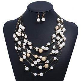 Ericdress Multilayer Metal Imitation Pearl Jewelry Set