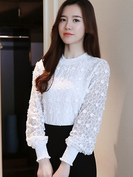 Ericdress Plain Slim Lace Embroidery Blouse