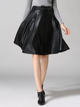 Ericdress Plain PU Women's Skirt